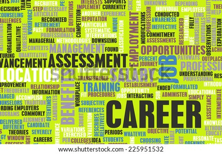 Career Word Cloud with Tags on White as a Concept - stock photo