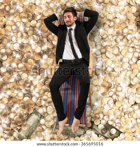 Carefree businessman - stock photo