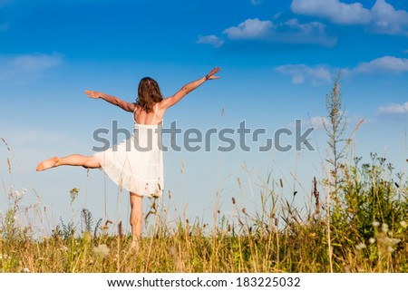 Carefree emotional girl. Summer vacation  - stock photo