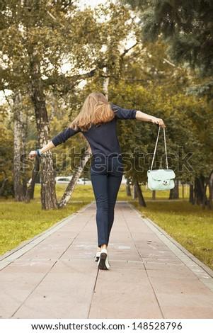 carefree girl - stock photo