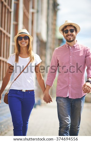 Carefree travelers - stock photo