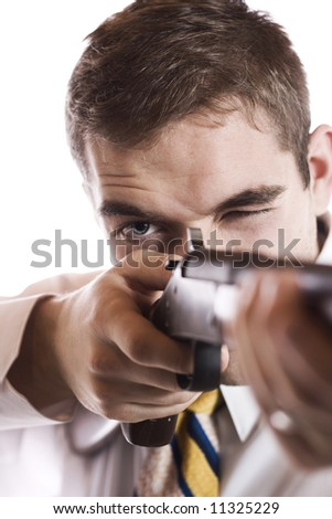 Carefully Aiming. - stock photo