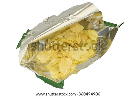 Carelessly opened a bag of chips on white background - stock photo