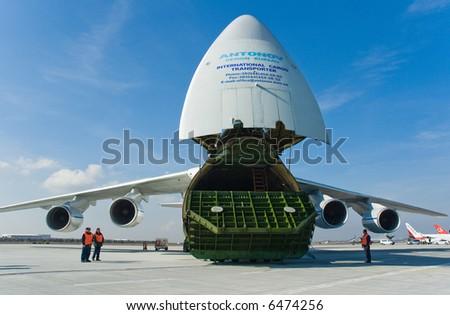 cargo aircraft at apron - stock photo