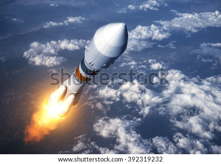 Cargo Carrier Rocket Launch In The Clouds. 3D Scene. - stock photo