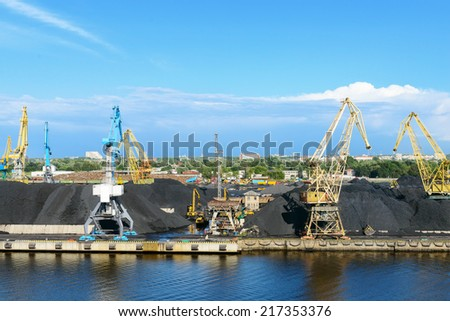 Cargo coal terminal - stock photo