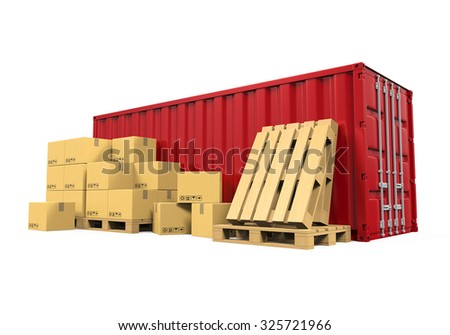 Cargo Container and Cardboard Boxes - stock photo