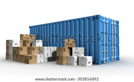cargo container and cardboards - stock photo