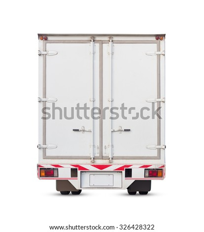 Cargo container and truck isolated on white, clipping path include in file. - stock photo