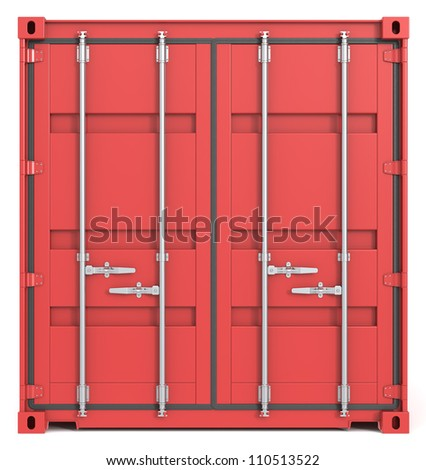 Cargo Container Front. Red Cargo Container. Closed Doors. Front view. - stock photo