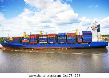 Cargo container ship - stock photo