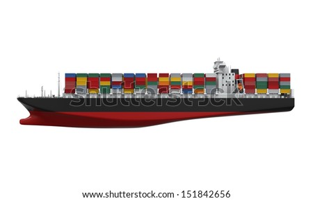 Cargo Container Ship Isolated - stock photo