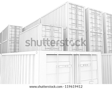 cargo containers and wooden boxes for delivery and shipping. visualization in drawing style. - stock photo