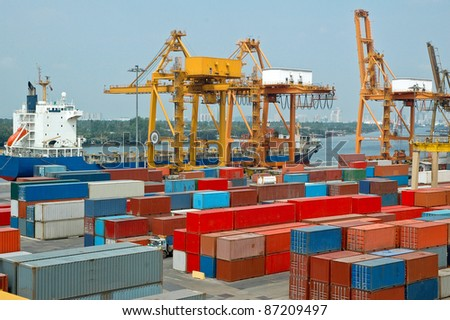Cargo Containers at a dock - stock photo