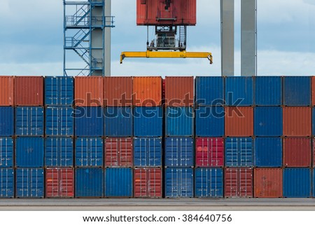 Cargo containers at shipyard - stock photo
