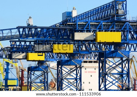 cargo crane. Ventspils terminal, Latvia - stock photo