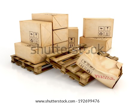 Cargo, delivery and transportation industry concept. Cardboard boxes on wooden pallets with one damaged package, isolated on white background. 3d illustration - stock photo