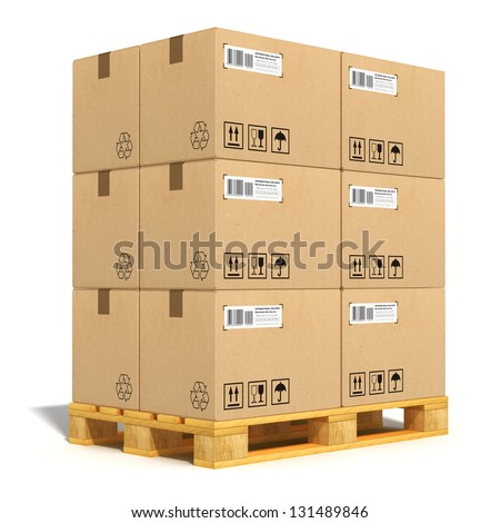 Cargo, delivery and transportation industry concept: stacked cardboard boxes on wooden shipping pallet isolated on white background - stock photo