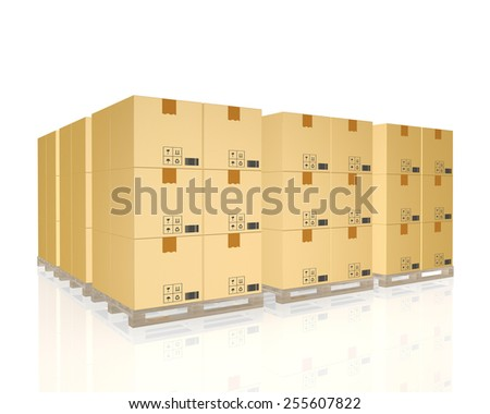cargo, delivery and transportation logistics storage warehouse industry,isolated on white background - stock photo