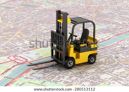 Cargo delivery Concept. Forklift over map - stock photo