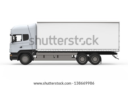 Cargo Delivery Truck Isolated on White Background - stock photo