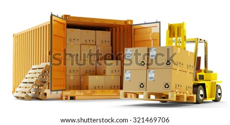 Cargo loading operation, shipment, delivery, logistics and freight transportation concept, open container full of boxes and forklift truck lift up packages on pallet isolated on white background - stock photo