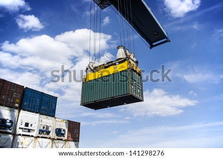 Cargo operation in port - stock photo