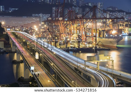 Cargo Port and Highway in Hong Kong