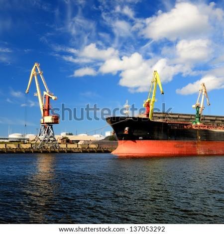 cargo port. Ventspils terminal, Latvia - stock photo