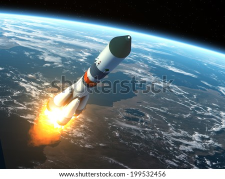 Cargo Rocket Takes Off. 3D Scene. Elements of this image furnished by NASA.  - stock photo