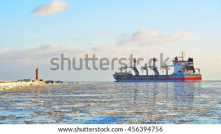 Cargo ship (Bulk carrier) sailing. Riga, Latvia