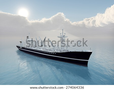 Cargo Ship Computer generated 3D illustration - stock photo