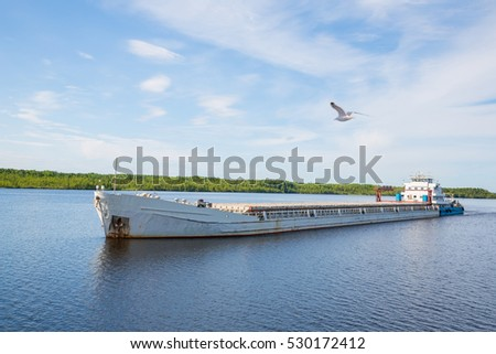 Cargo ship goes on the river Svir River and flying seagull. Karelia, Russia