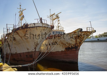 Cargo ship gotten suck in the bay - stock photo