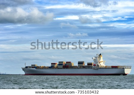 Cargo ship has full container it is floating in the sea.