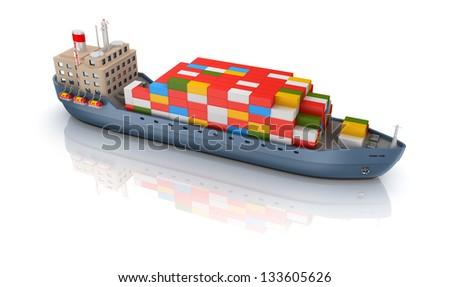 Cargo ship isolated - stock photo