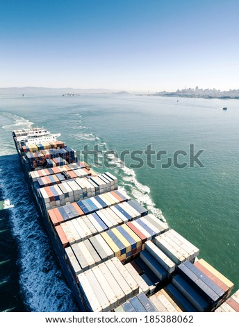 Cargo ship loaded with containers  - stock photo