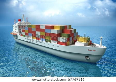 Cargo ship sails across the Ocean. My own design. High quality 3d render - stock photo