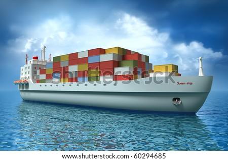 Cargo ship sails across the Ocean. My own design. My own design - stock photo