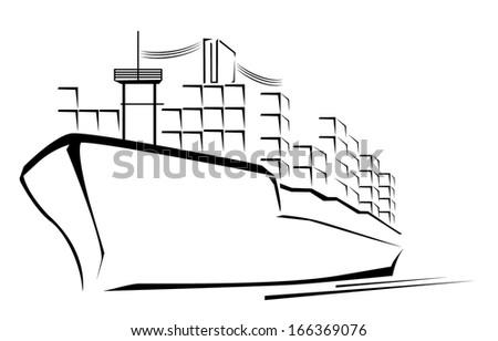 Cargo Ship Symbol  - stock photo