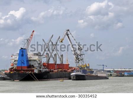 Cargo ship \ transhipment - stock photo