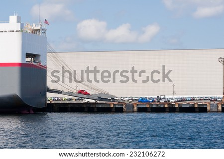 Cargo ship unloading imported cars