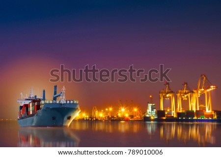 Cargo ship with container carry big tank import export cargo from international container yard port to ocean concept transportaion maritime freight shipping.
