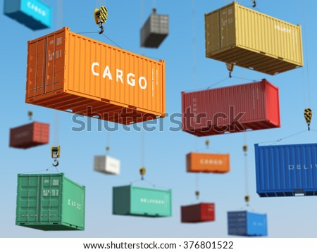 Cargo shipping containers in storage area with forklifts. Delivery background concept. 3d - stock photo