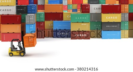 Cargo shipping containers in storage area with forklifts with space for text. Delivery or warehouse concept.  3d - stock photo