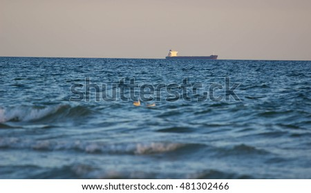 Cargo Ships at Anchorage in Black Sea