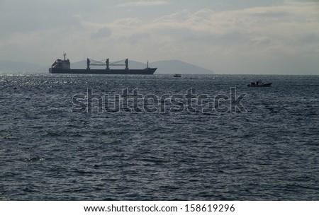 Cargo Ships in Bosphorus Istanbul  Turkey - stock photo