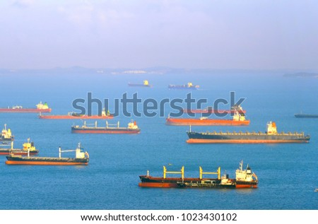 Cargo ships in Singapore harbor anf aiplane flying over them.