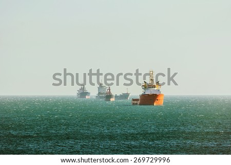 Cargo Ships Stacking Up in Varna Bay - stock photo