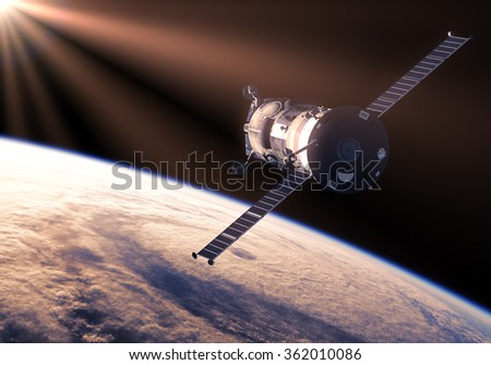 Cargo Spacecraft In The Rays Of Sun. 3D Scene. (NASA Images NOT USED!) - stock photo